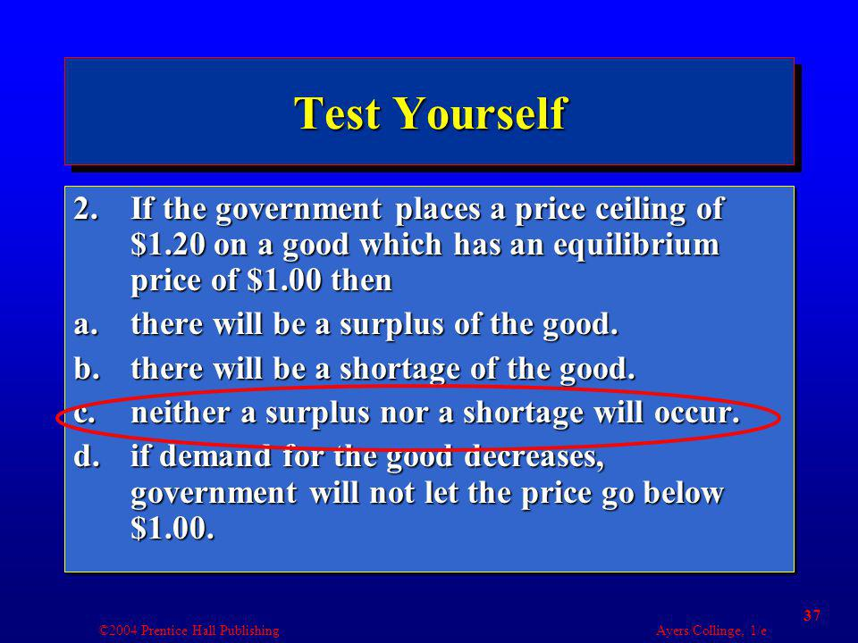 ©2004 Prentice Hall Publishing Ayers/Collinge, 1/e 37 Test Yourself 2.If the government places a price ceiling of $1.20 on a good which has an equilib