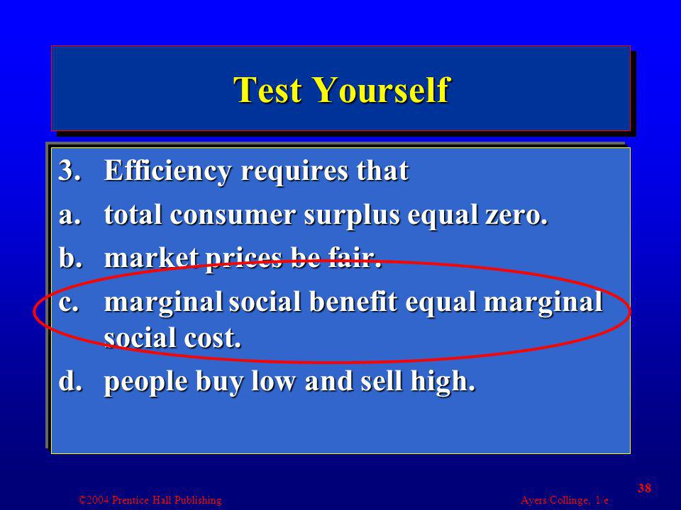 ©2004 Prentice Hall Publishing Ayers/Collinge, 1/e 38 Test Yourself 3.Efficiency requires that a.total consumer surplus equal zero. b.market prices be