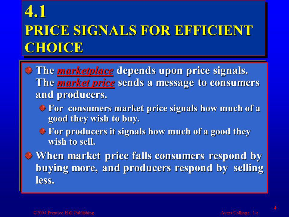 ©2004 Prentice Hall Publishing Ayers/Collinge, 1/e 4 4.1 PRICE SIGNALS FOR EFFICIENT CHOICE The marketplace depends upon price signals.