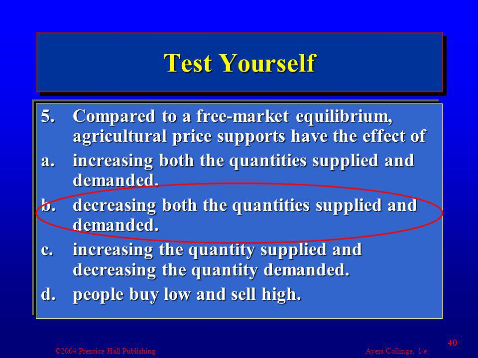 ©2004 Prentice Hall Publishing Ayers/Collinge, 1/e 40 Test Yourself 5.Compared to a free-market equilibrium, agricultural price supports have the effect of a.increasing both the quantities supplied and demanded.