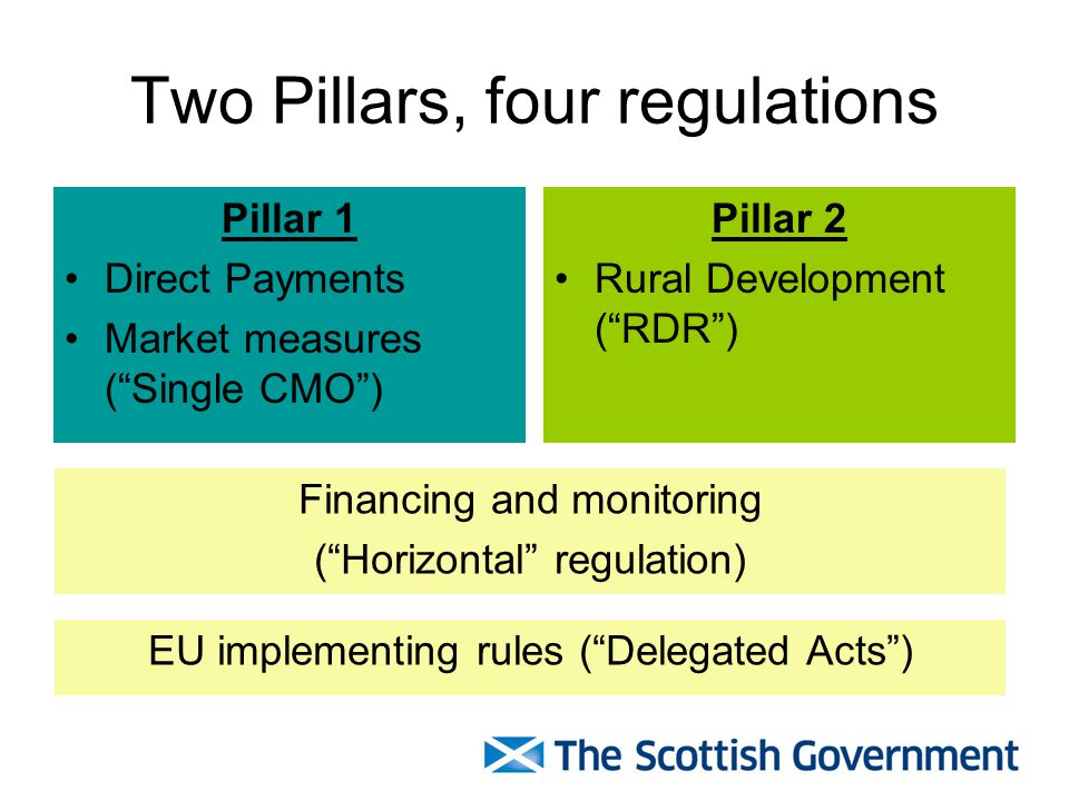 Two Pillars, four regulations Pillar 1 Direct Payments Market measures (Single CMO) Pillar 2 Rural Development (RDR) Financing and monitoring (Horizontal regulation) EU implementing rules (Delegated Acts)