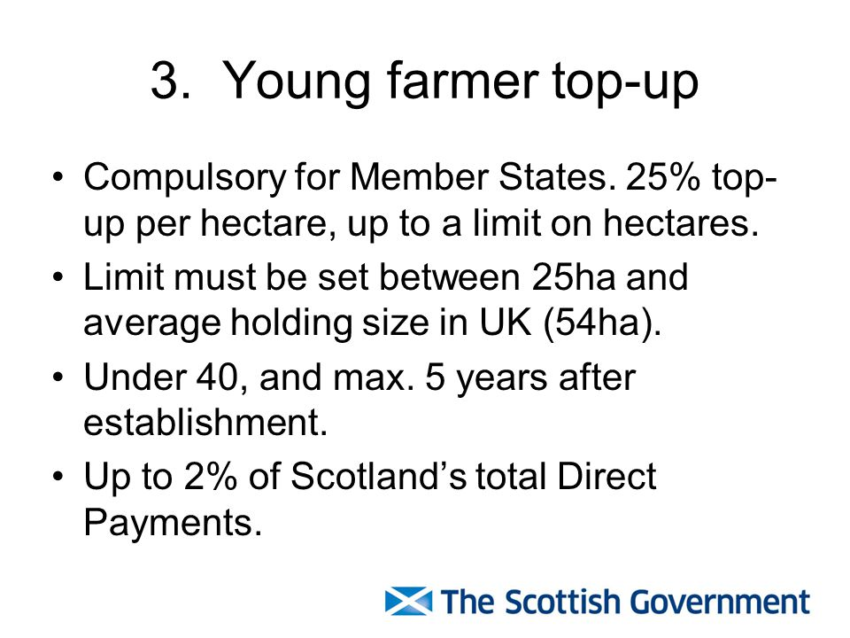 3. Young farmer top-up Compulsory for Member States.