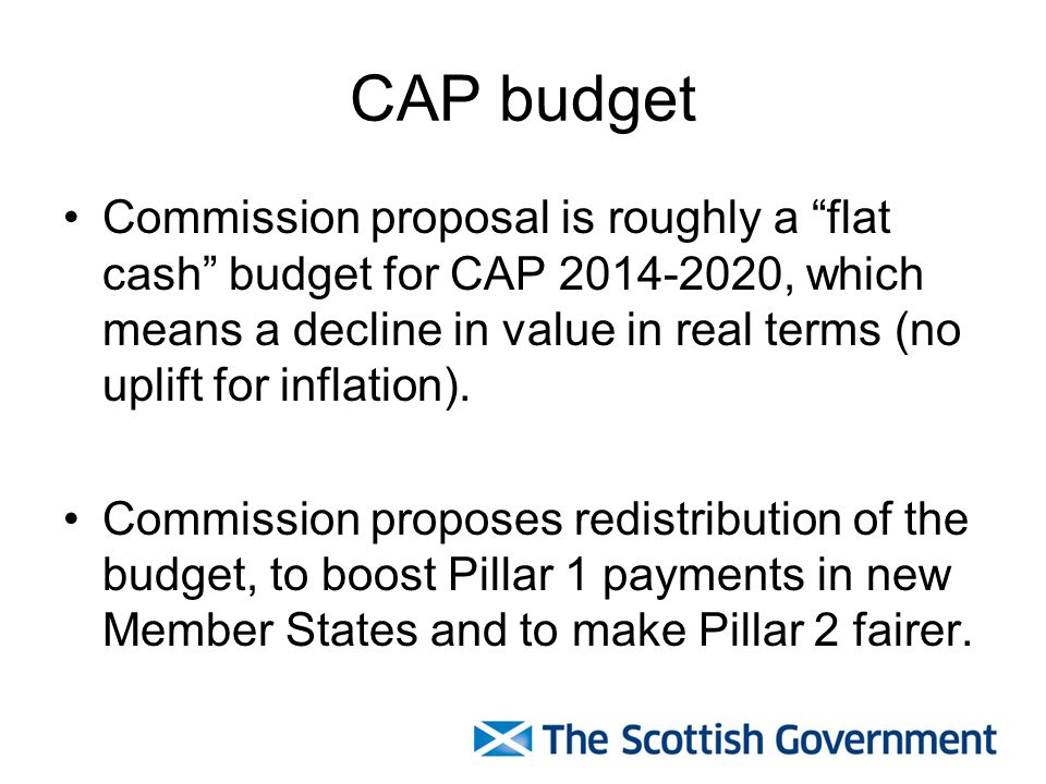CAP budget Commission proposal is roughly a flat cash budget for CAP 2014-2020, which means a decline in value in real terms (no uplift for inflation).