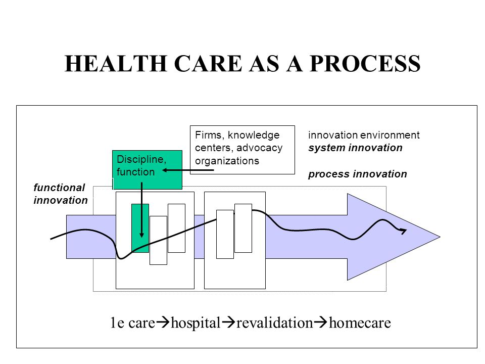 HEALTH CARE AS A PROCESS Discipline, function innovation environment system innovation process innovation functional innovation Firms, knowledge centers, advocacy organizations 1e care hospital revalidation homecare