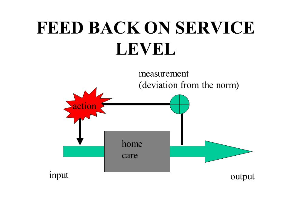 FEED BACK ON SERVICE LEVEL action measurement (deviation from the norm) input output home care