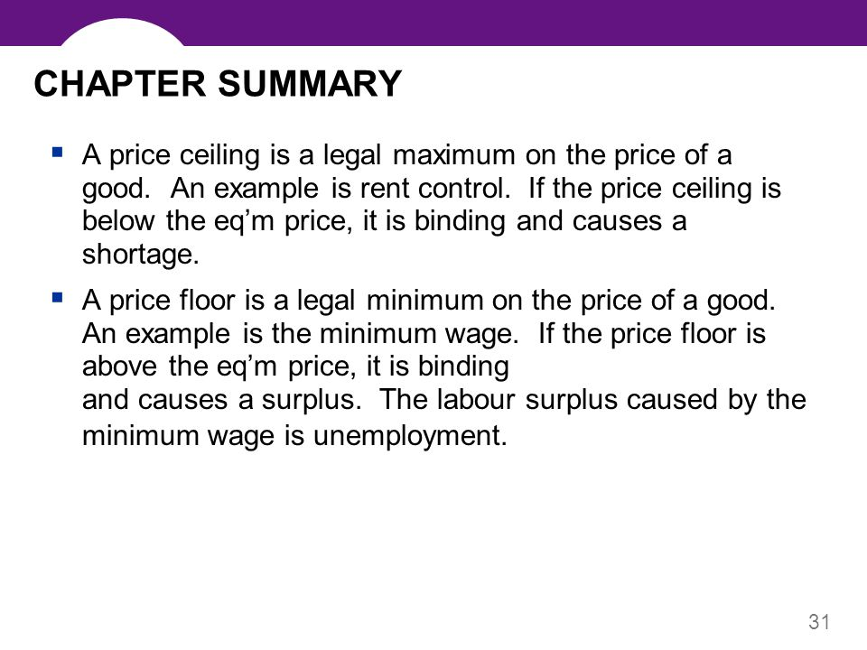 31 CHAPTER SUMMARY A price ceiling is a legal maximum on the price of a good. An example is rent control. If the price ceiling is below the eqm price,