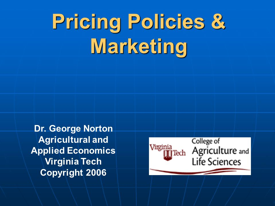 Pricing Policies & Marketing Dr.