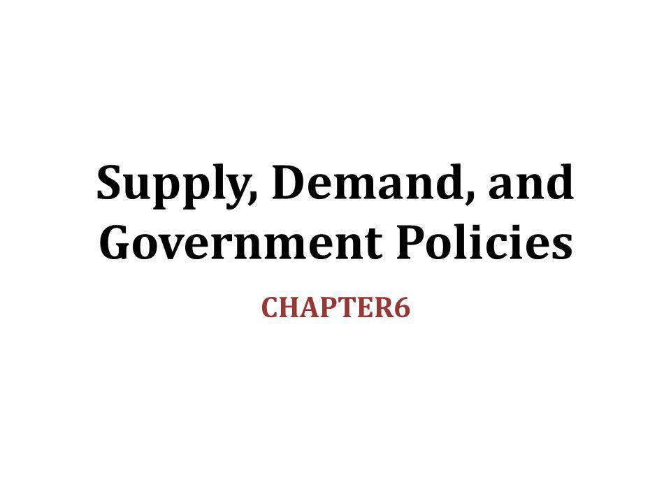 SUPPLY, DEMAND, AND GOVERNMENT POLICIES 12 Evaluating Price Controls Recall one of the Ten Principles from Chapter 1: Markets are usually a good way to organize economic activity.