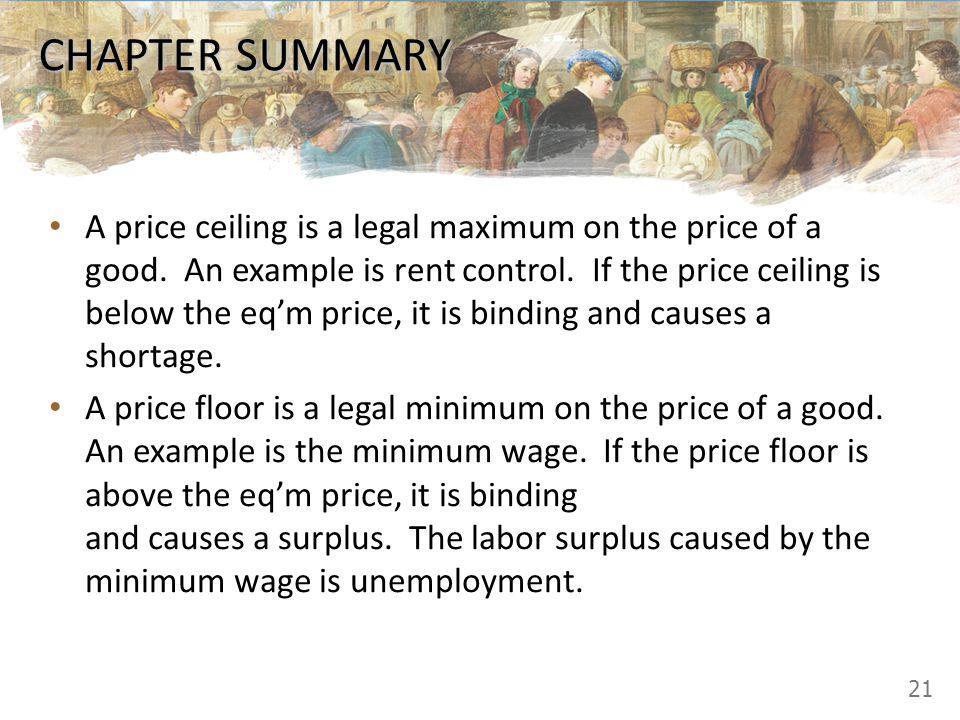 CHAPTER SUMMARY A price ceiling is a legal maximum on the price of a good. An example is rent control. If the price ceiling is below the eqm price, it