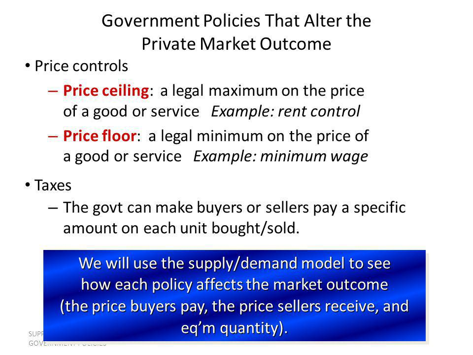 SUPPLY, DEMAND, AND GOVERNMENT POLICIES 14 S1S1 EXAMPLE 3: The Market for Pizza Equilibrium without tax P Q D1D1 $10.00 500