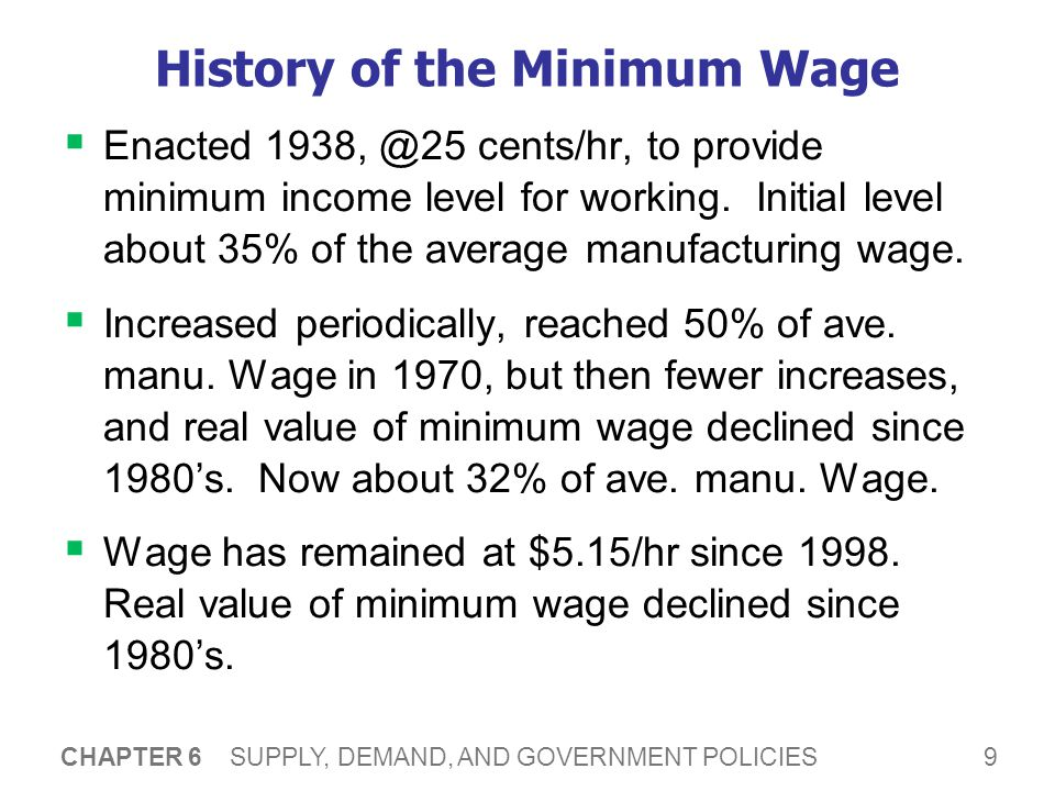 9 CHAPTER 6 SUPPLY, DEMAND, AND GOVERNMENT POLICIES History of the Minimum Wage Enacted 1938, @25 cents/hr, to provide minimum income level for working.