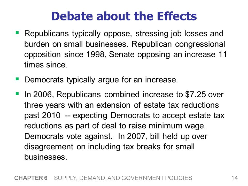 14 CHAPTER 6 SUPPLY, DEMAND, AND GOVERNMENT POLICIES Debate about the Effects Republicans typically oppose, stressing job losses and burden on small businesses.