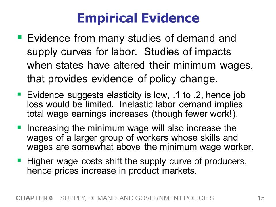 15 CHAPTER 6 SUPPLY, DEMAND, AND GOVERNMENT POLICIES Empirical Evidence Evidence from many studies of demand and supply curves for labor.
