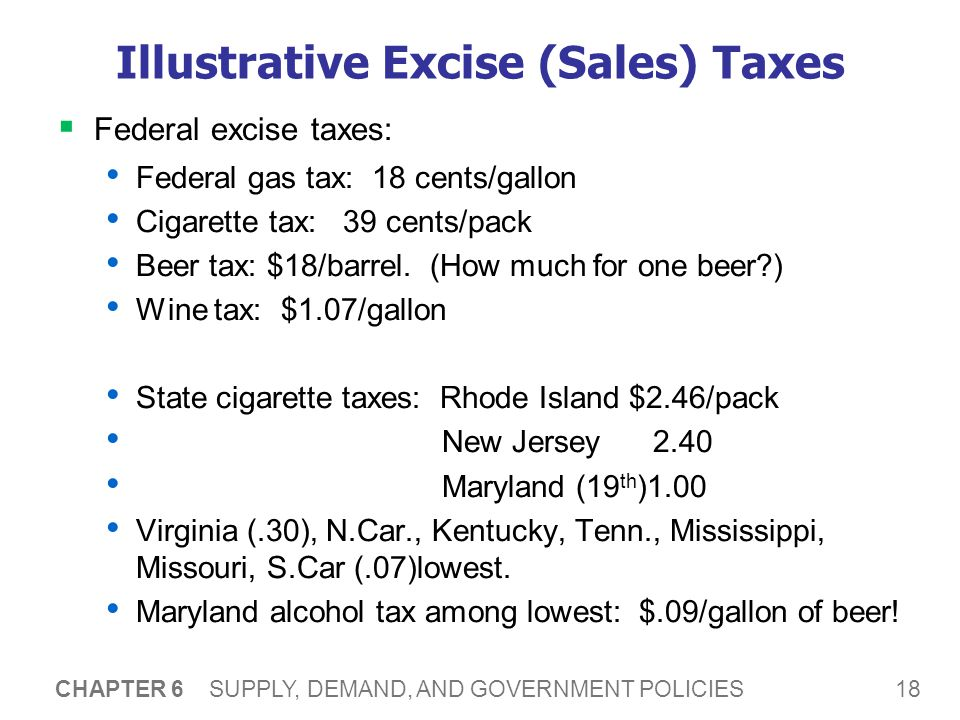 18 CHAPTER 6 SUPPLY, DEMAND, AND GOVERNMENT POLICIES Illustrative Excise (Sales) Taxes Federal excise taxes: Federal gas tax: 18 cents/gallon Cigarette tax: 39 cents/pack Beer tax: $18/barrel.