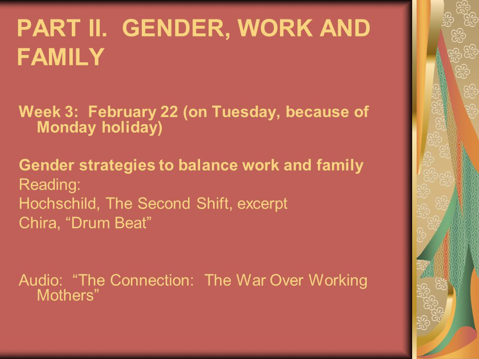 PART II. GENDER, WORK AND FAMILY Week 3: February 22 (on Tuesday, because of Monday holiday) Gender strategies to balance work and family Reading: Hoc