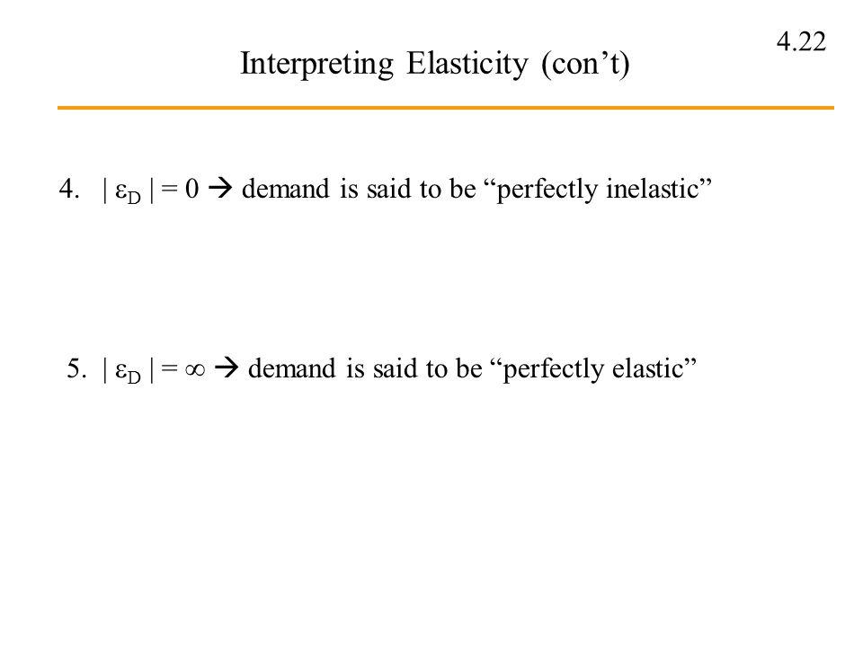 4.22 Interpreting Elasticity (cont) 4. | D | = 0 demand is said to be perfectly inelastic 5. | D | = demand is said to be perfectly elastic