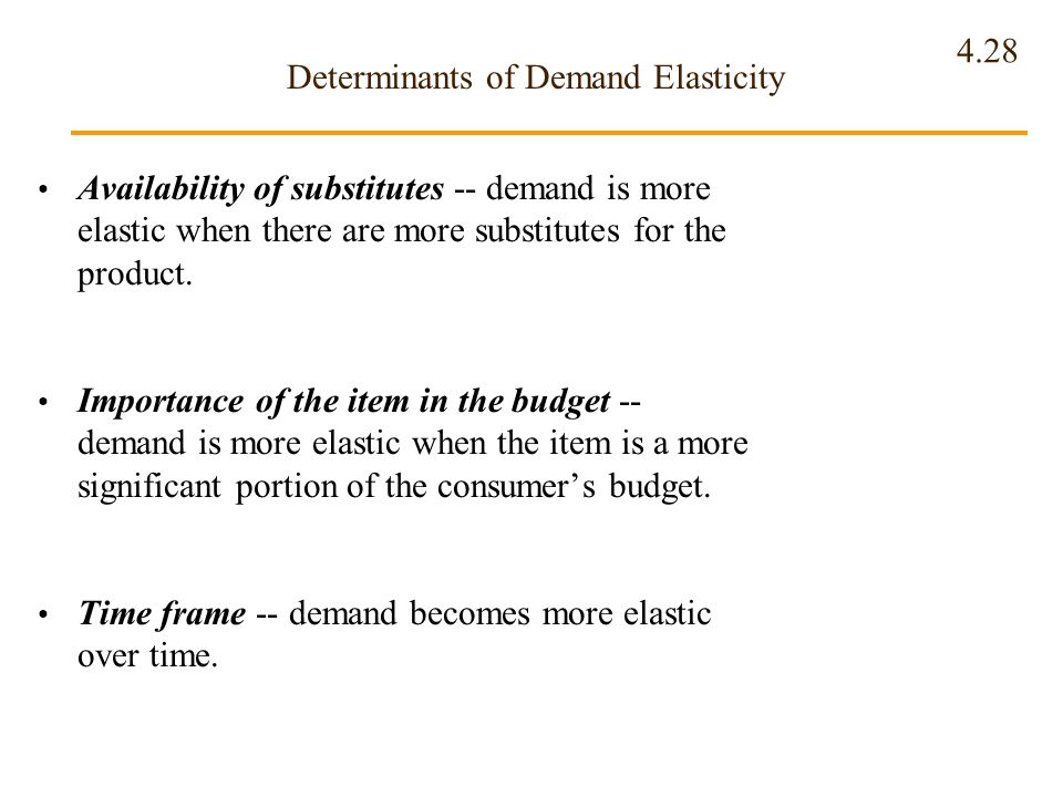 4.28 Determinants of Demand Elasticity Availability of substitutes -- demand is more elastic when there are more substitutes for the product. Importan