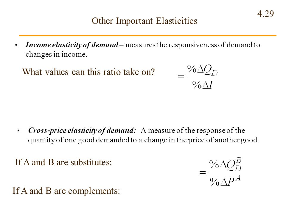 4.29 Other Important Elasticities Income elasticity of demand – measures the responsiveness of demand to changes in income. What values can this ratio