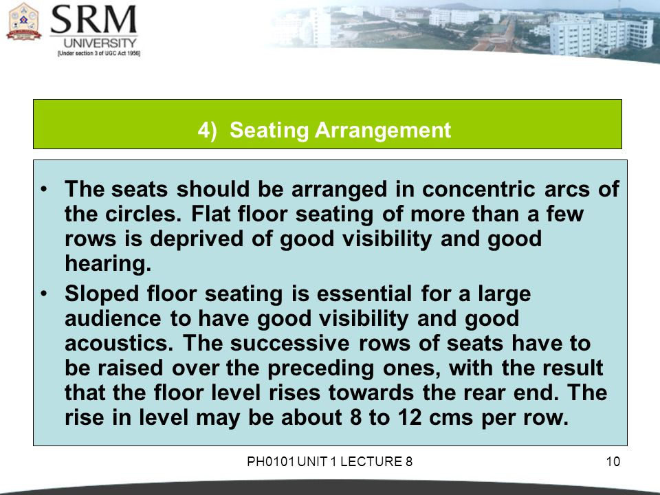 PH0101 UNIT 1 LECTURE 810 4) Seating Arrangement The seats should be arranged in concentric arcs of the circles.