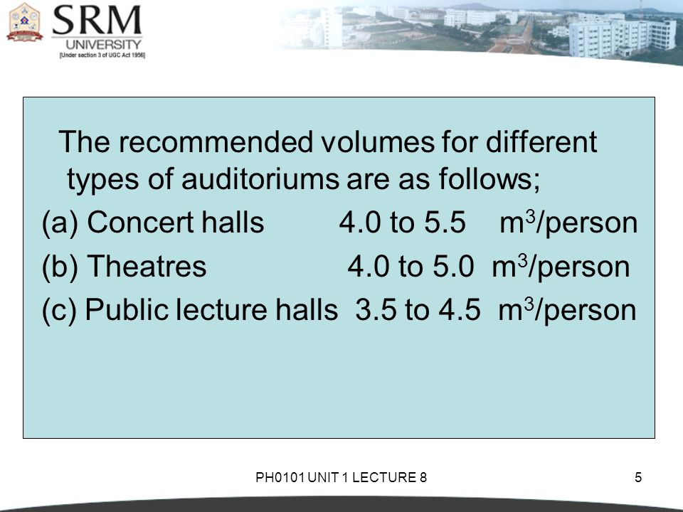 PH0101 UNIT 1 LECTURE 85 The recommended volumes for different types of auditoriums are as follows; (a) Concert halls 4.0 to 5.5 m 3 /person (b) Theatres 4.0 to 5.0 m 3 /person (c) Public lecture halls 3.5 to 4.5 m 3 /person