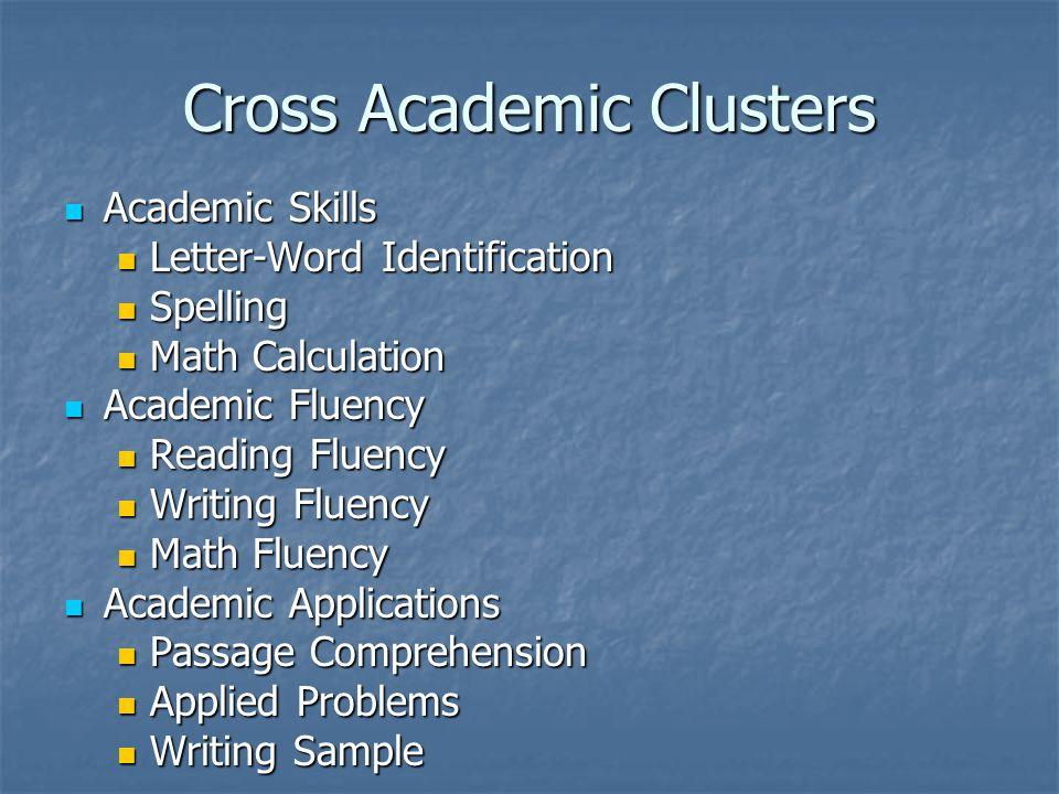 Cross Academic Clusters Academic Skills Academic Skills Letter-Word Identification Letter-Word Identification Spelling Spelling Math Calculation Math