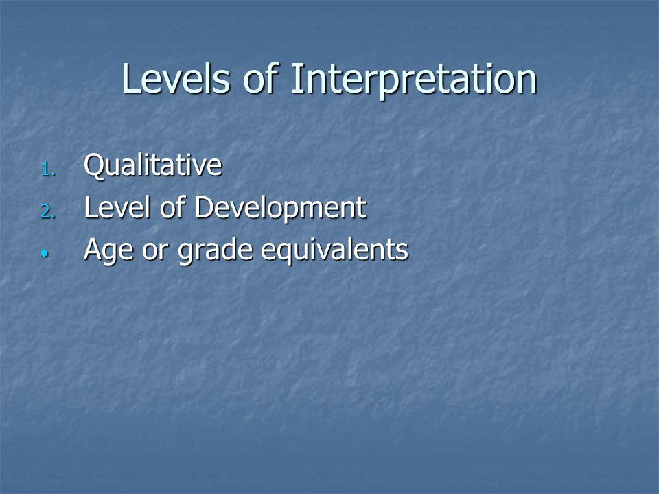 Levels of Interpretation 1. Qualitative 2. Level of Development Age or grade equivalents Age or grade equivalents