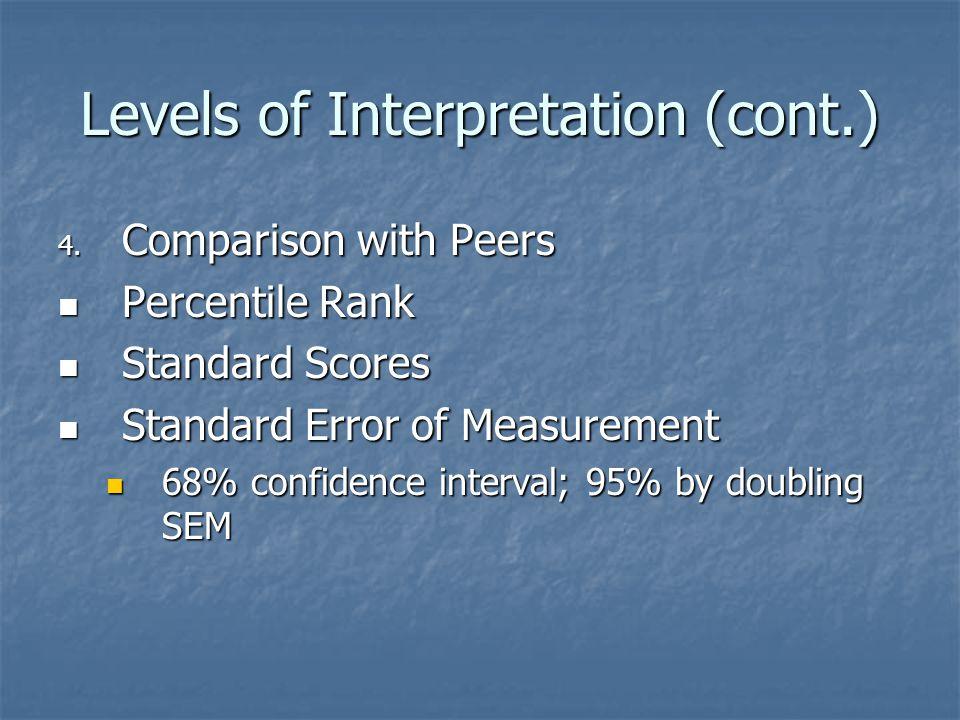 Levels of Interpretation (cont.) 4. Comparison with Peers Percentile Rank Percentile Rank Standard Scores Standard Scores Standard Error of Measuremen