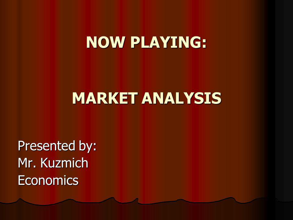 NOW PLAYING: MARKET ANALYSIS Presented by: Mr. Kuzmich Economics