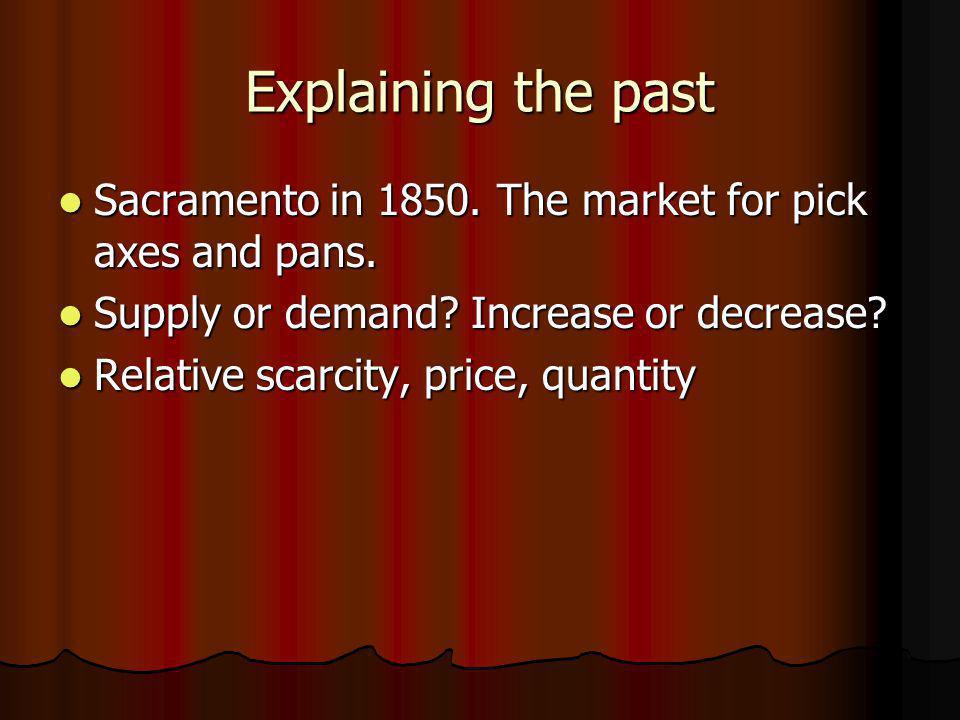 Explaining the past Sacramento in 1850. The market for pick axes and pans. Sacramento in 1850. The market for pick axes and pans. Supply or demand? In