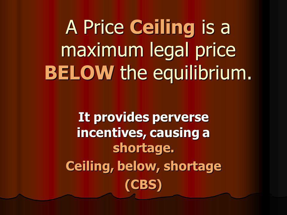 A Price Ceiling is a maximum legal price BELOW the equilibrium.