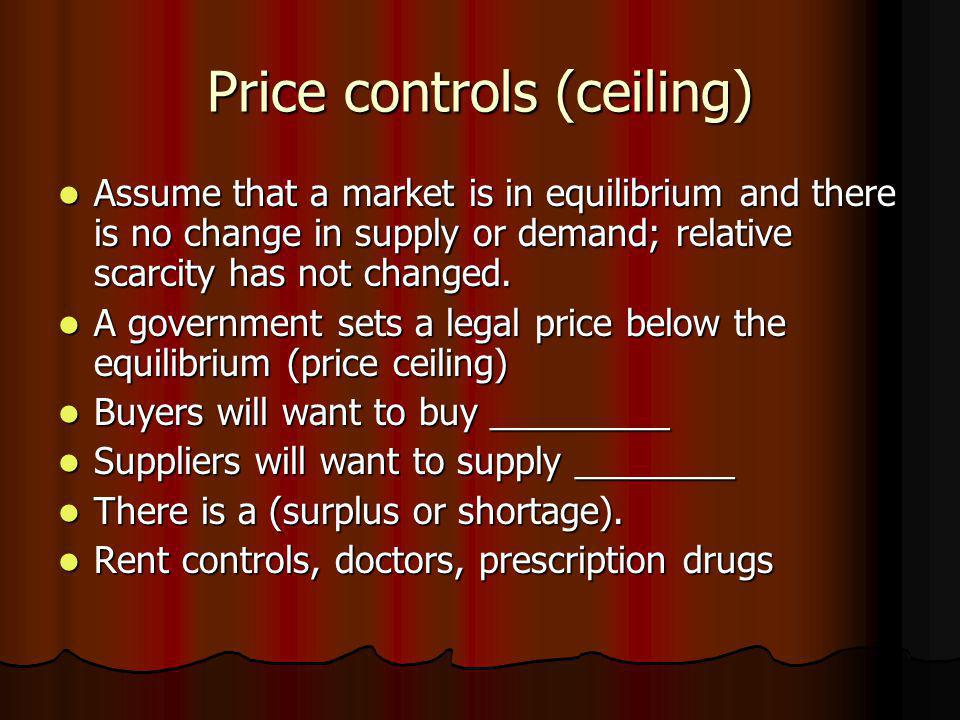 Price controls (ceiling) Assume that a market is in equilibrium and there is no change in supply or demand; relative scarcity has not changed. Assume