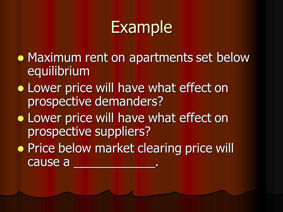 Example Maximum rent on apartments set below equilibrium Maximum rent on apartments set below equilibrium Lower price will have what effect on prospec