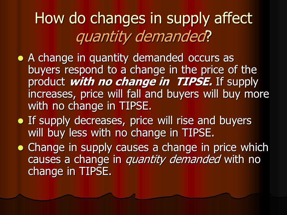 How do changes in supply affect quantity demanded? A change in quantity demanded occurs as buyers respond to a change in the price of the product with