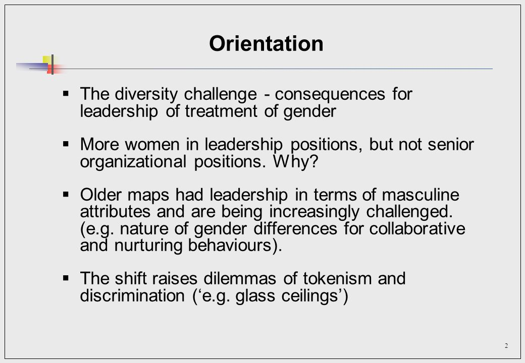 2 Orientation The diversity challenge - consequences for leadership of treatment of gender More women in leadership positions, but not senior organizational positions.