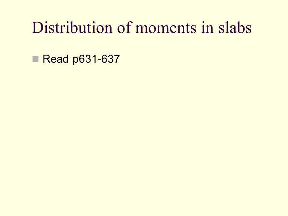 Distribution of moments in slabs Read p631-637