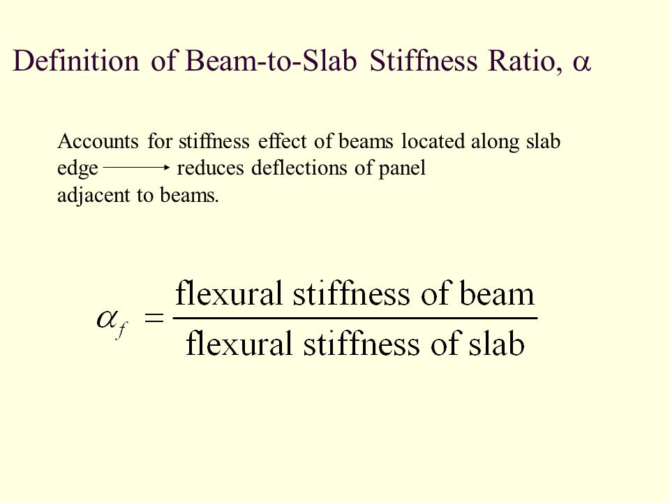 Definition of Beam-to-Slab Stiffness Ratio, Accounts for stiffness effect of beams located along slab edge reduces deflections of panel adjacent to beams.