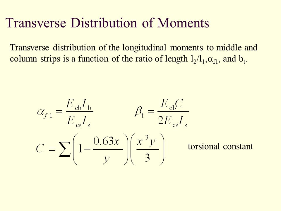 Transverse Distribution of Moments Transverse distribution of the longitudinal moments to middle and column strips is a function of the ratio of length l 2 /l 1, f1, and b t.