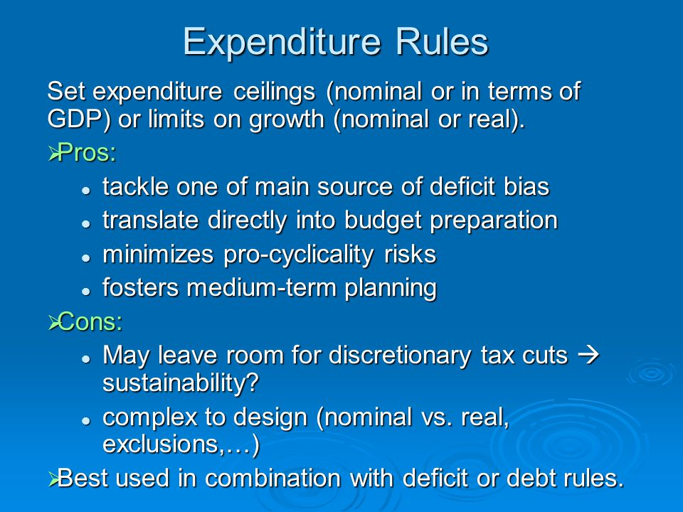Expenditure Rules Set expenditure ceilings (nominal or in terms of GDP) or limits on growth (nominal or real).