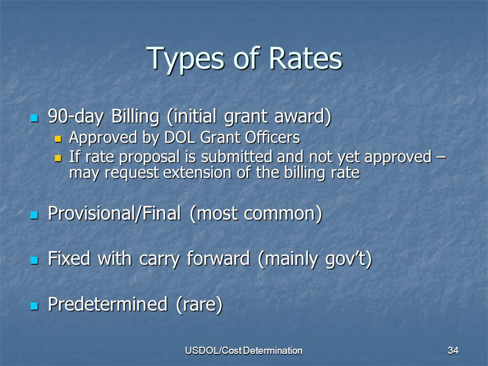 USDOL/Cost Determination35 Billing Rate Rate stated in the award Rate stated in the award To allow recovery of indirect costs until an indirect cost proposal is completed and submitted.