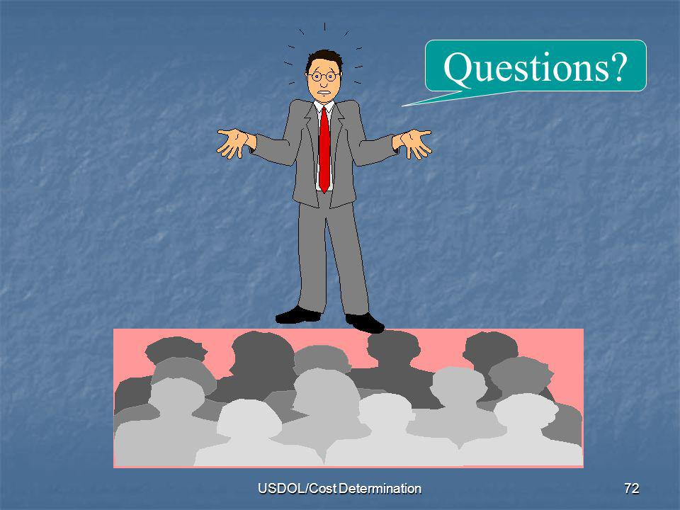 USDOL/Cost Determination72 Questions?
