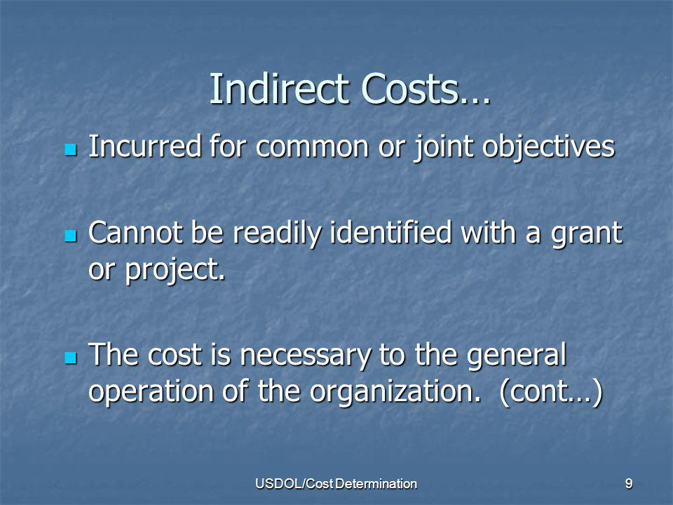 USDOL/Cost Determination10 Levels of Indirect For Large Entities States, Counties, Other Organizations: SWCAP or COWCAP or ORGCAP States, Counties, Other Organizations: SWCAP or COWCAP or ORGCAP Central Services cost Central Services cost examples examples LOCAP/Umbrella entity LOCAP/Umbrella entity Entity that labor is usually cognizant agency for who operate multiple programs Entity that labor is usually cognizant agency for who operate multiple programs