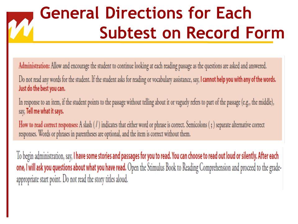Oral Language Subtests