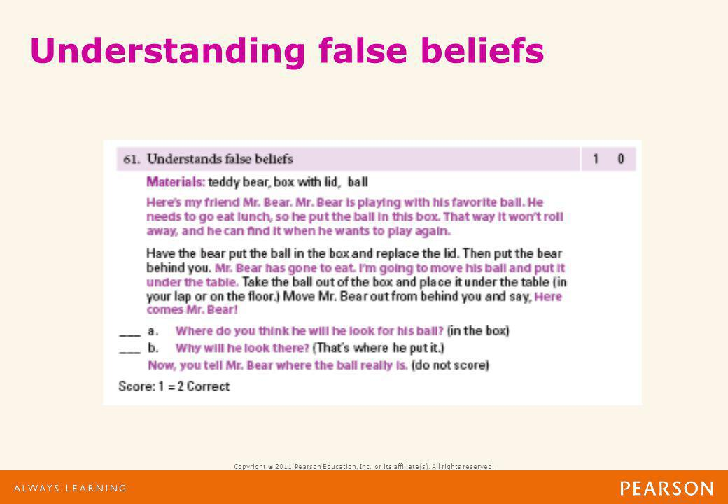 Copyright 2011 Pearson Education, Inc. or its affiliate(s). All rights reserved. Understanding false beliefs