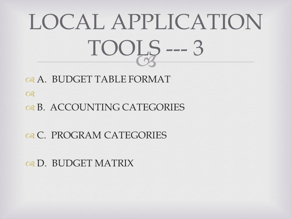 A. BUDGET TABLE FORMAT B. ACCOUNTING CATEGORIES C.