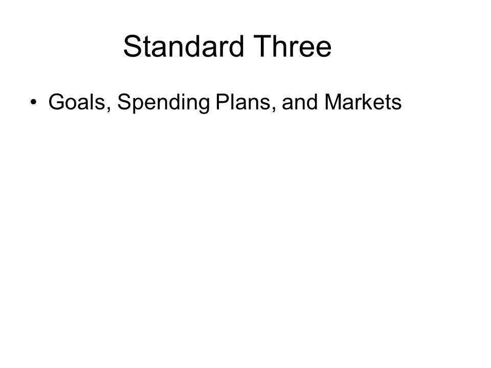 Standard Three Goals, Spending Plans, and Markets