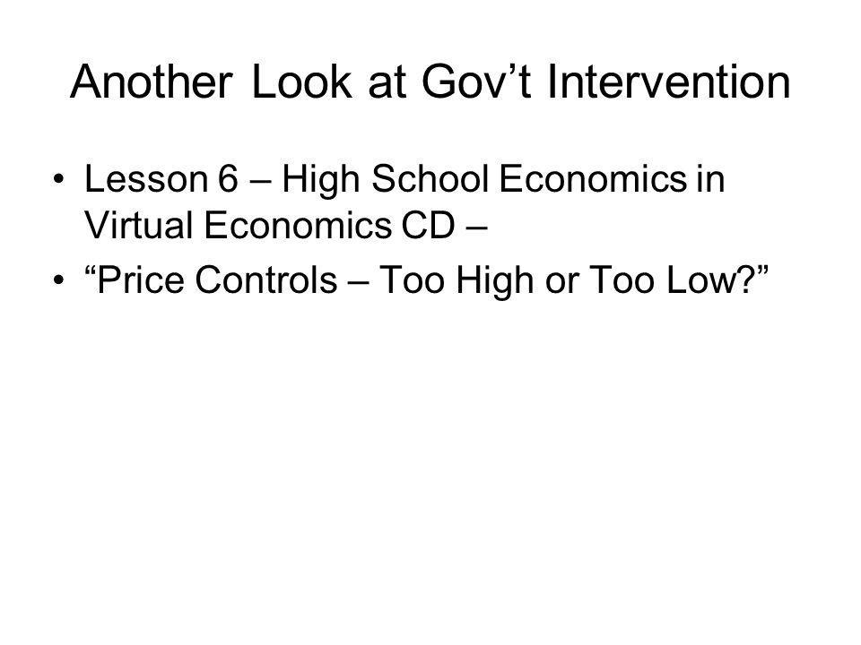 Another Look at Govt Intervention Lesson 6 – High School Economics in Virtual Economics CD – Price Controls – Too High or Too Low