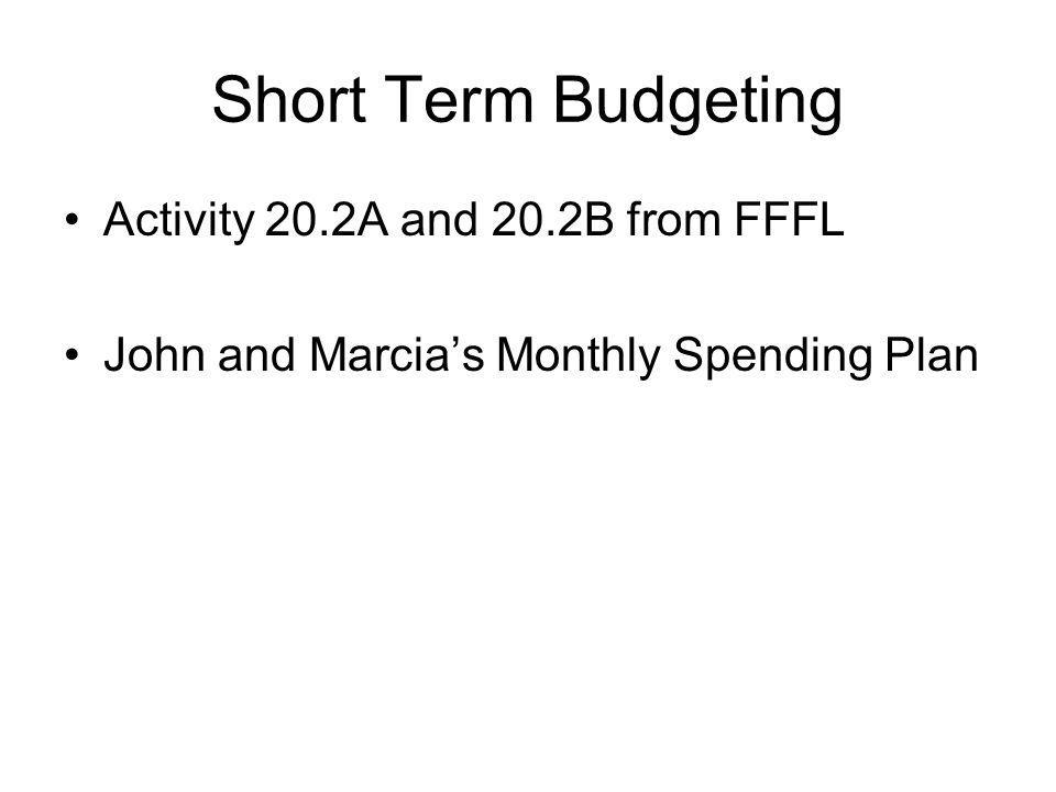 Short Term Budgeting Activity 20.2A and 20.2B from FFFL John and Marcias Monthly Spending Plan