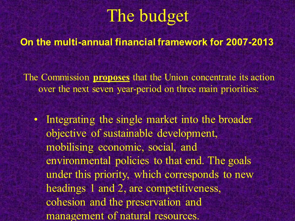 The budget Integrating the single market into the broader objective of sustainable development, mobilising economic, social, and environmental policies to that end.