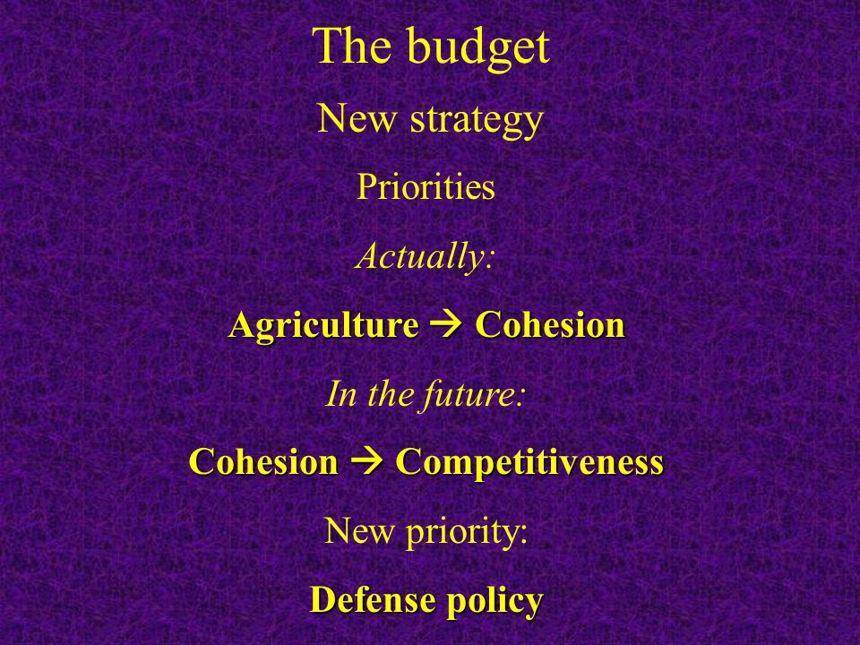 New strategy Priorities Actually: Agriculture Cohesion In the future: Cohesion Competitiveness New priority: Defense policy