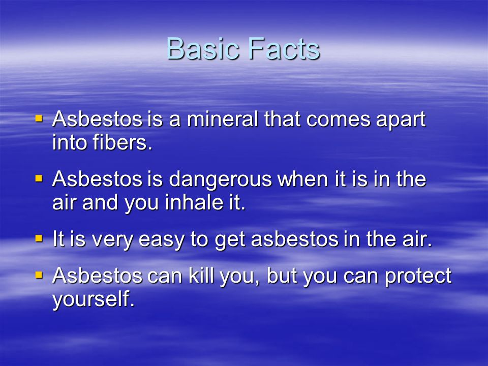 Forms and Uses Chrysotile (white asbestos) – used as insulation, fireproofing, and soundproofing Chrysotile (white asbestos) – used as insulation, fireproofing, and soundproofing Amosite (brown asbestos) – used in high- friction applications such as brake shoes and clutches Amosite (brown asbestos) – used in high- friction applications such as brake shoes and clutches Crocidolite (blue asbestos) – not as common as the other two forms Crocidolite (blue asbestos) – not as common as the other two forms